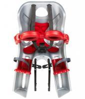 Сиденье переднее Bellelli FRECCIA B-Fix до 15кг, серебристое с красным, с красной подкладкой