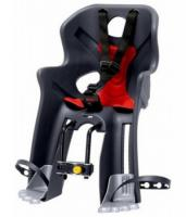 Сиденье переднее Bellelli RABBIT Handlefix до 15кг, серое с красной подкладкой