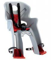 Сиденье переднее Bellelli RABBIT Handlefix до 15кг, серебристое с красной подкладкой