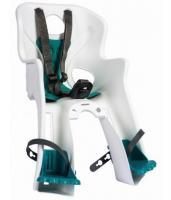 Сиденье переднее Bellelli RABBIT Sportfix до 15кг, белое с бирюзовой подкладкой
